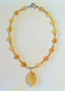 Yellow Jade Necklace with Pendant