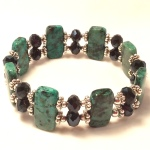 african turquoise double stretch bracelet
