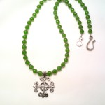 Jade necklace with Celtic pendant