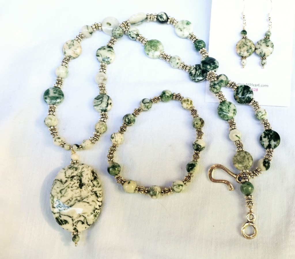 crystal moss agate vaults necklace