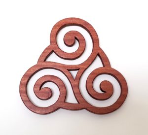 Triskele Knot Wood Trivet