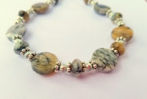 Black moss opal bracelet
